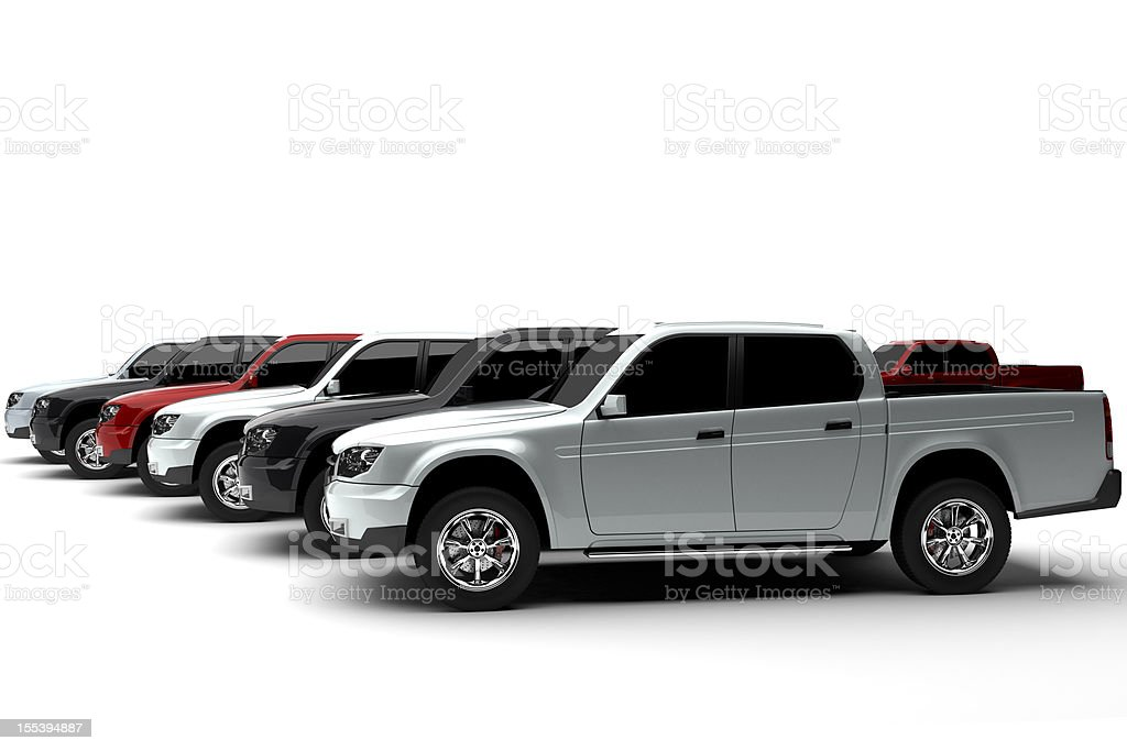 New pick up trucks multicolored stock photo