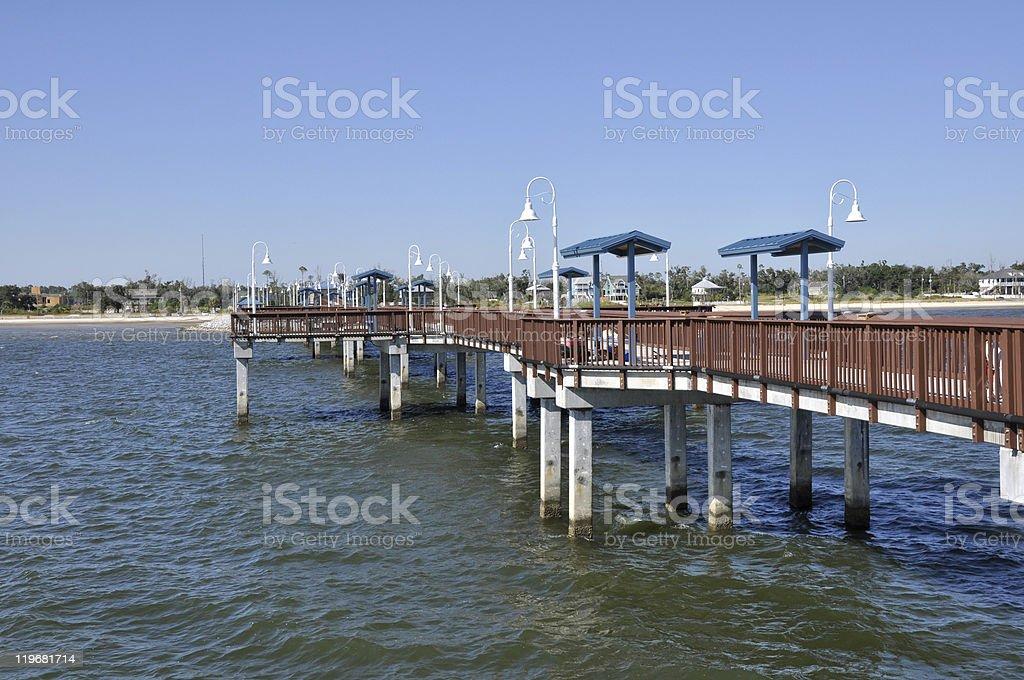 new pier in Waveland, Mississippi stock photo