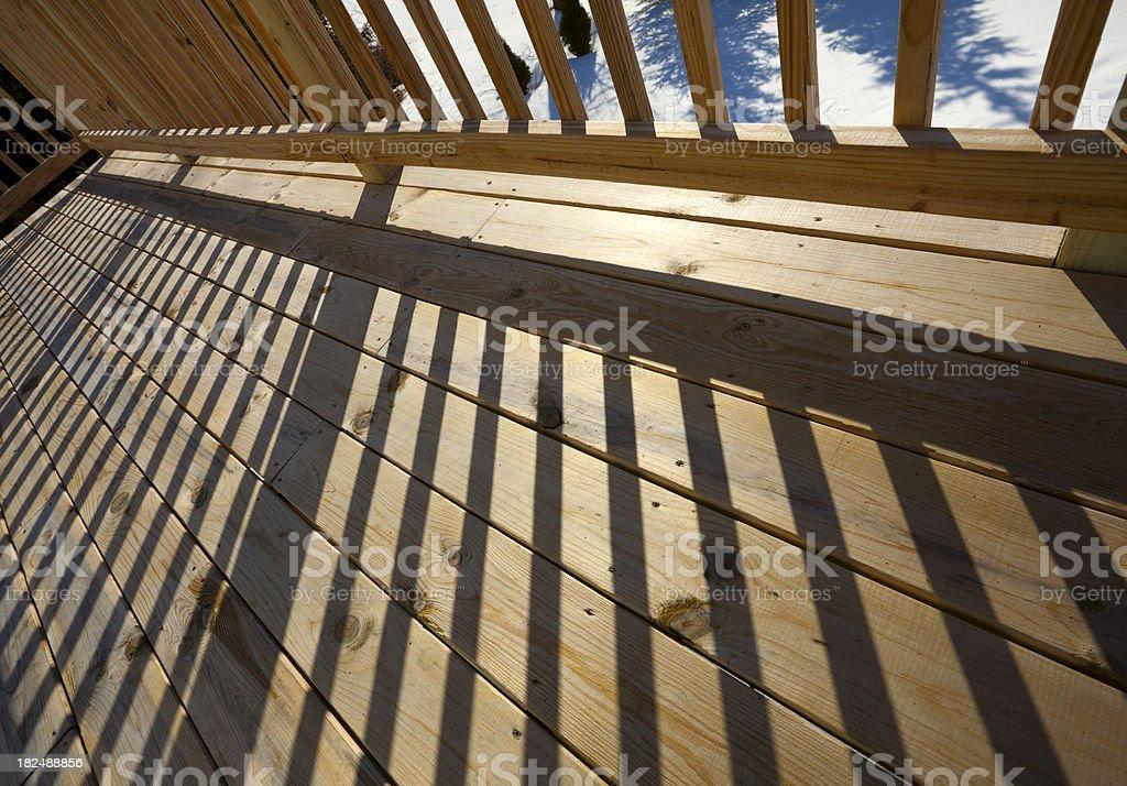 \'New Pine Wood Lumber Patio Deck Floor Surface Railing Shadow. I used...