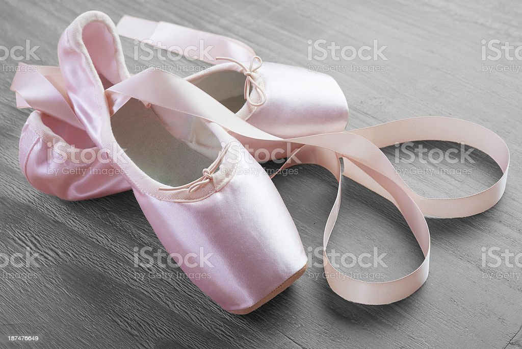 new pink ballet pointe shoes stock photo