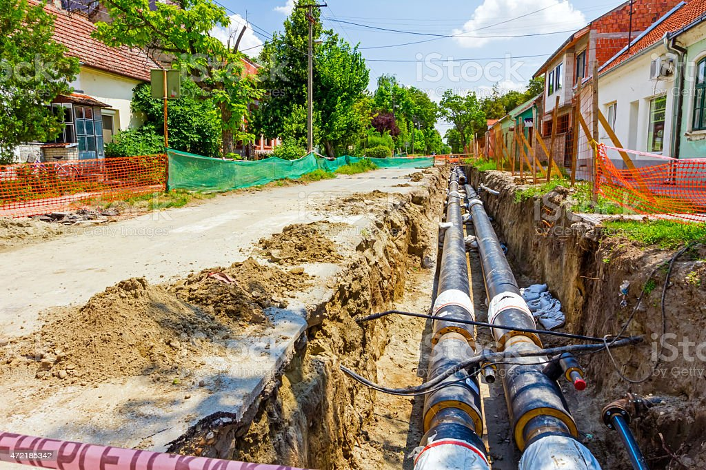 New pipeline in the process of building stock photo