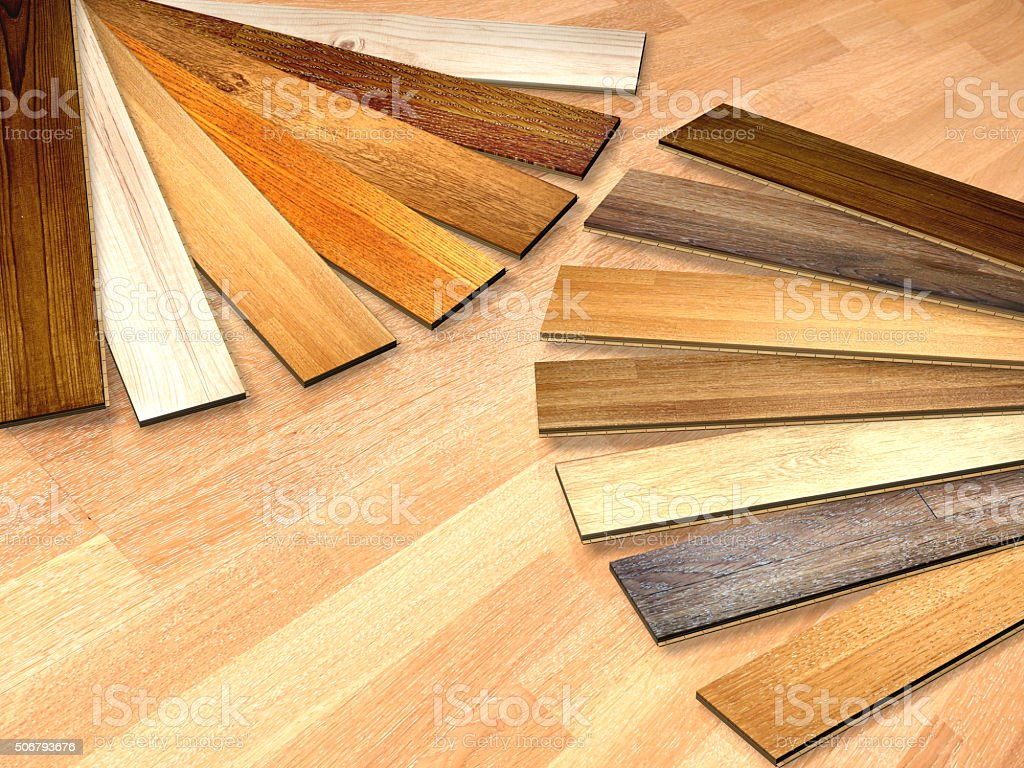 New planks of oak parquet stock photo