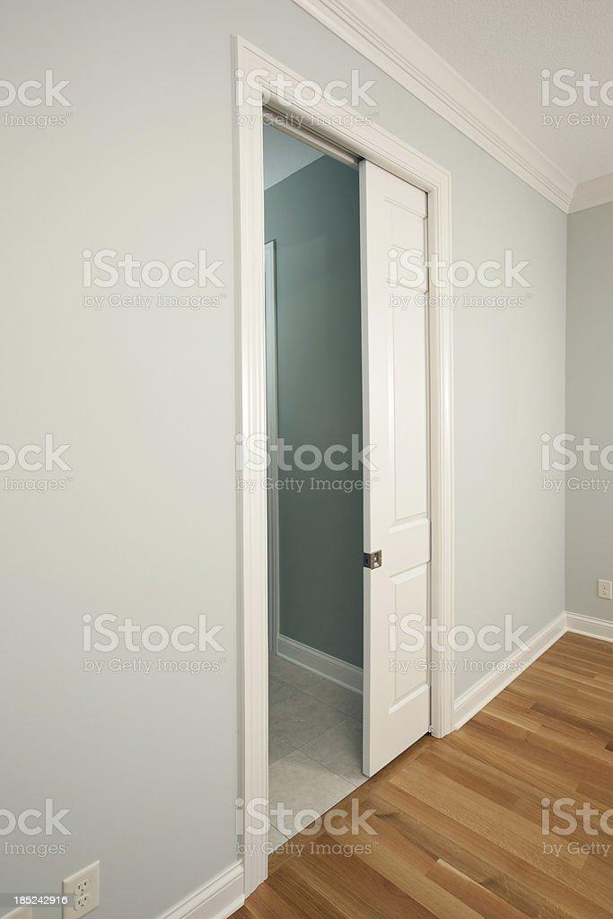 New Pocket Door in a House Bedroom stock photo