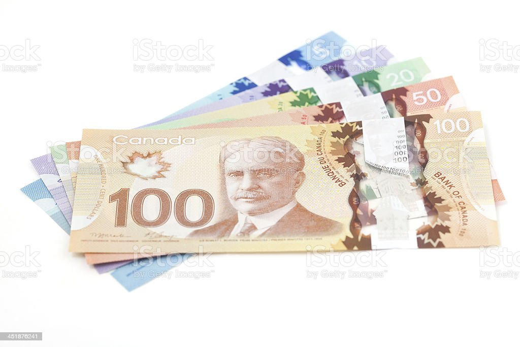 New Polymer Canadian Currency stock photo