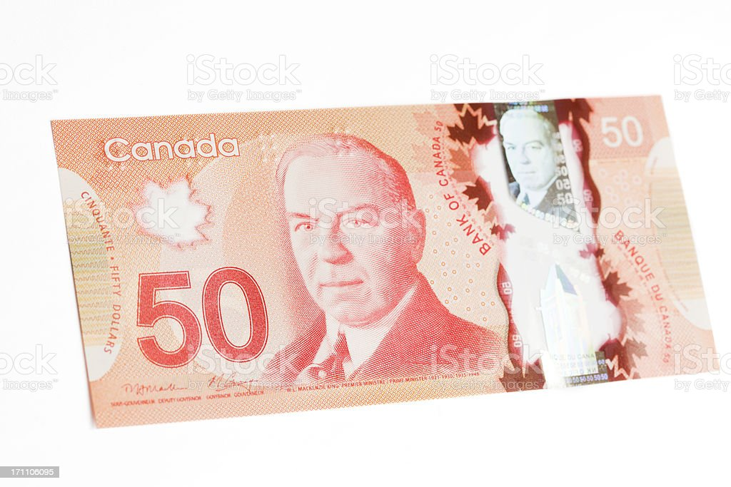 New Polymer Canadian Fifty Dollar Bill - Front stock photo