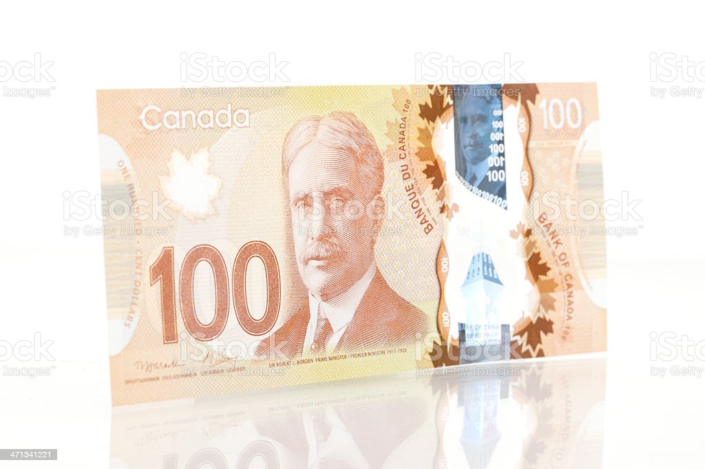 New Polymer Canadian One Hundred Dollar Bill - Front royalty-free stock photo