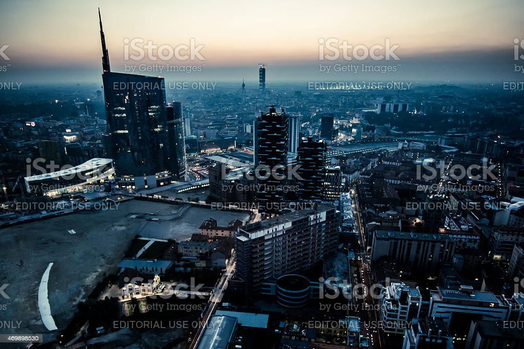 new Porta Garibaldi financial district from Regione Lombardia skyscraper stock photo