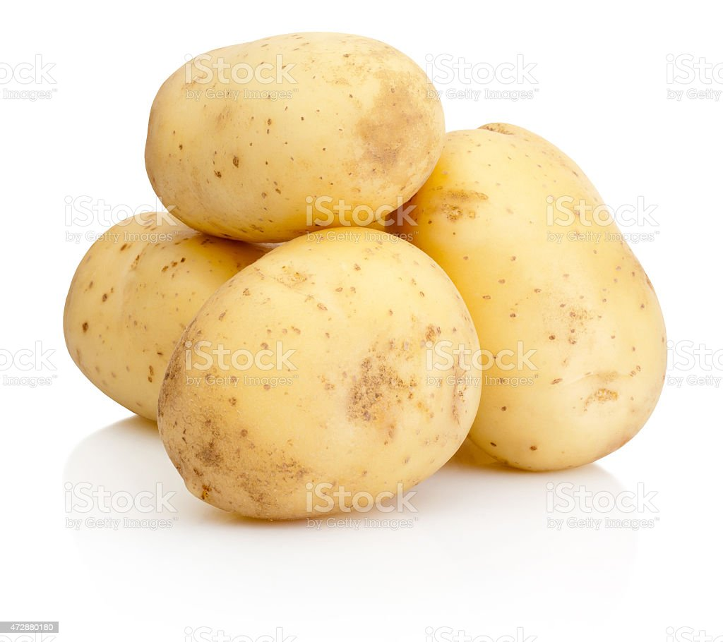 New potato isolated on white background stock photo