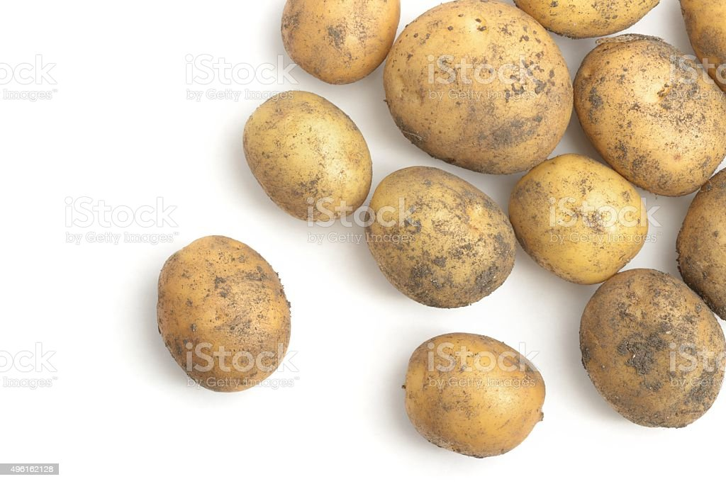 New potatoes scattered stock photo