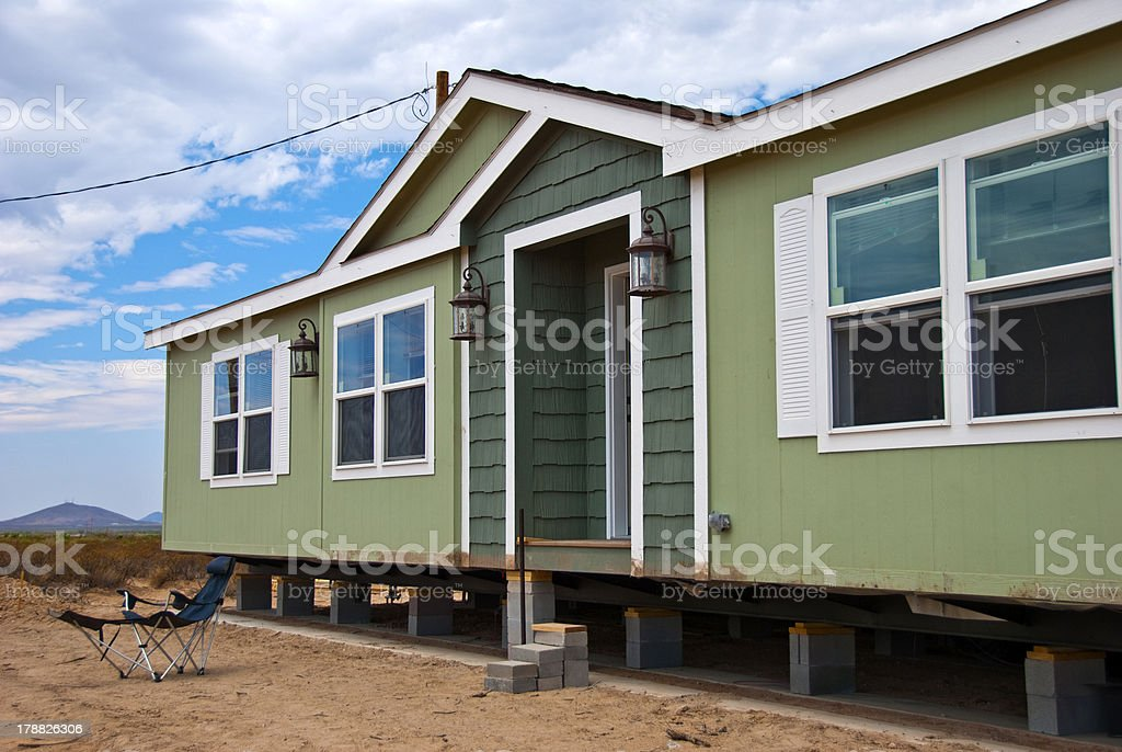 New Prefabricated House in Rural Area stock photo
