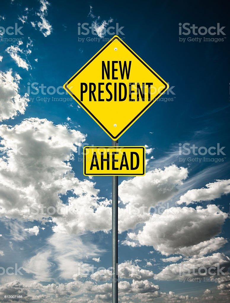New president street sign stock photo