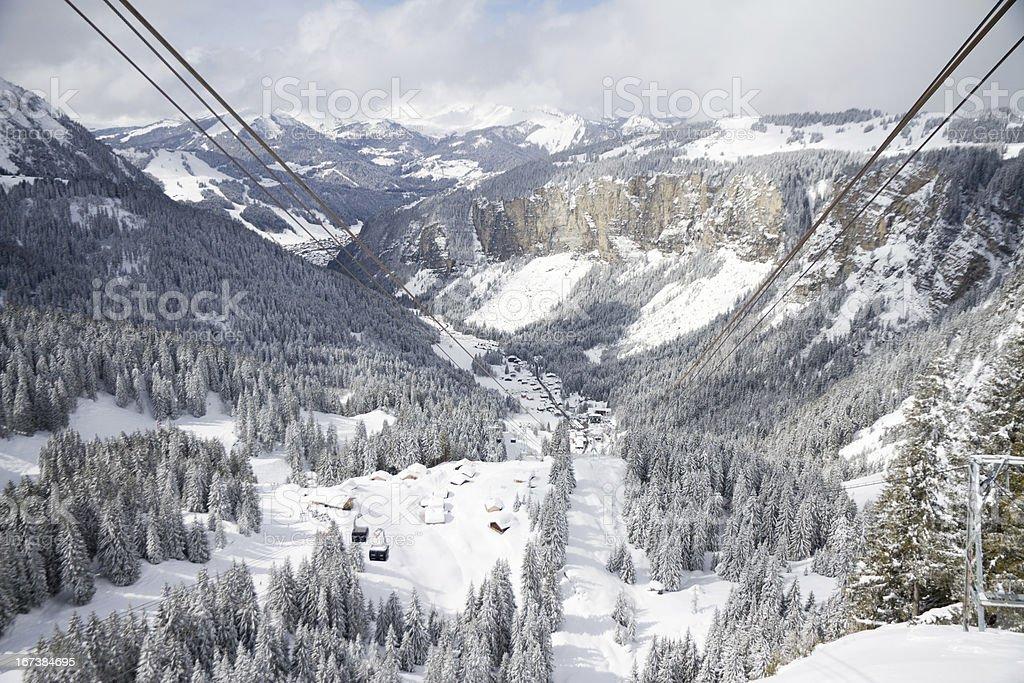 New Prodains valley ski lift links stock photo