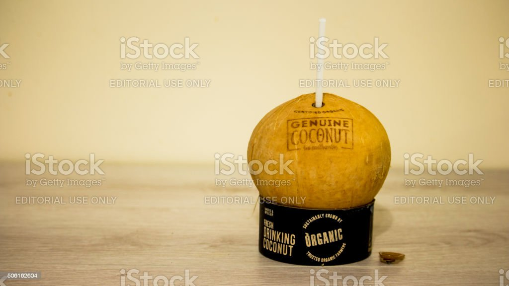 New Product- A drinking Coconut stock photo