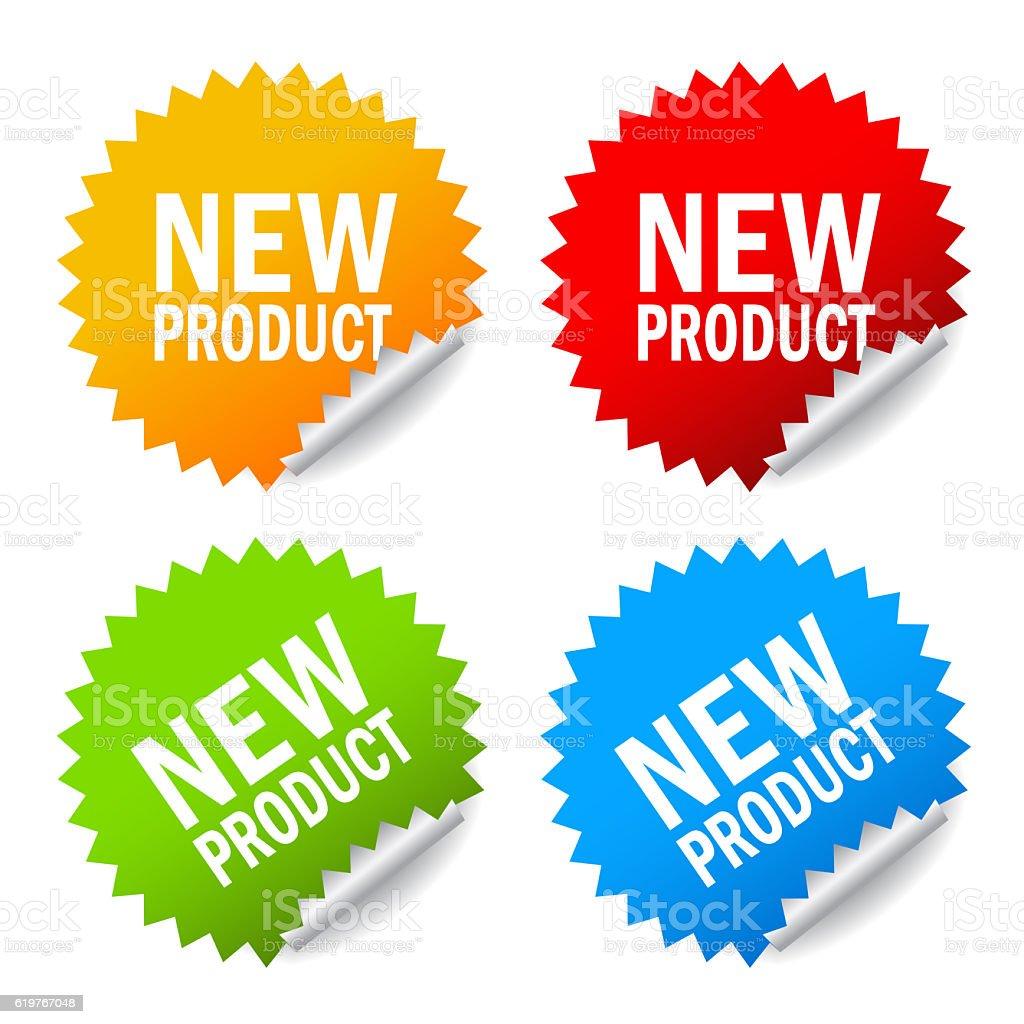 New product sticker stock photo