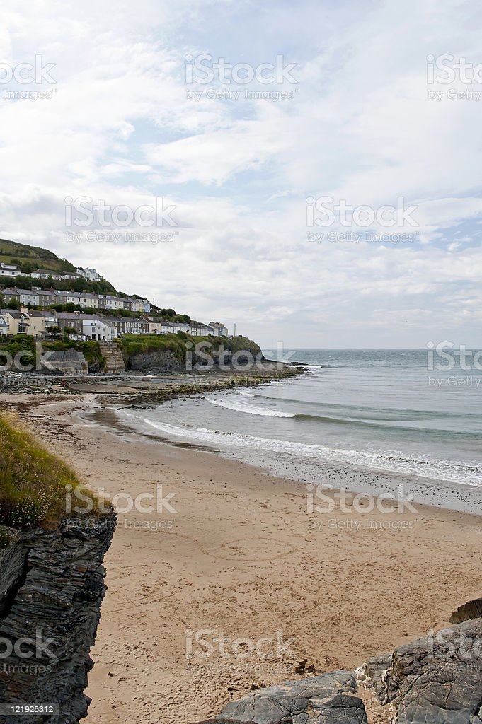 New Quay town beach stock photo