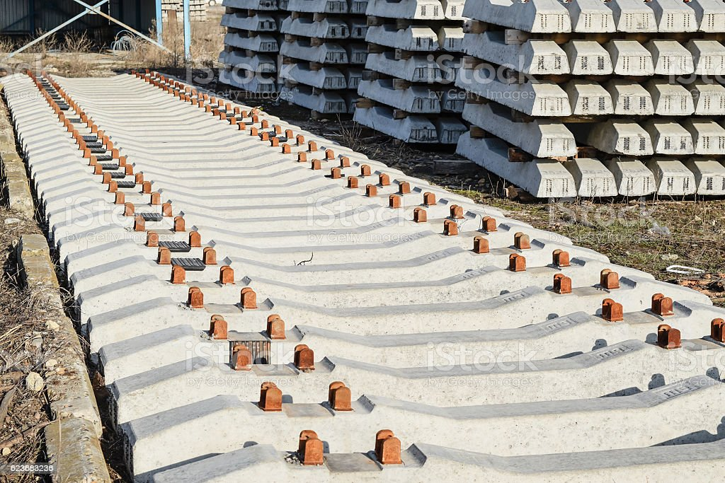 New rails and sleepers stock photo