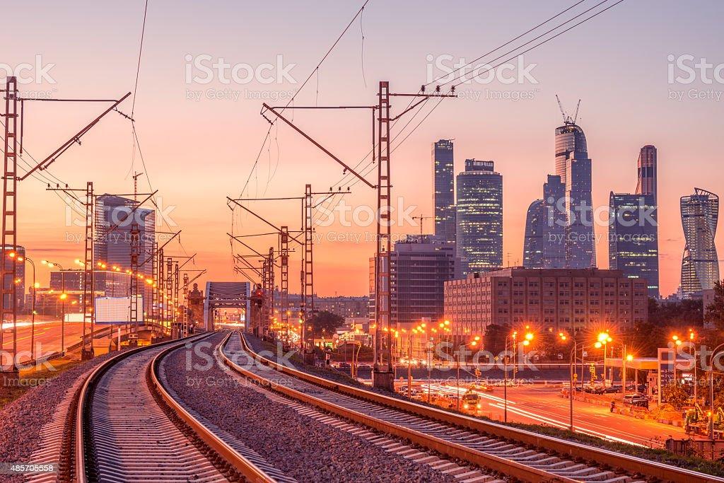 New railway line. stock photo