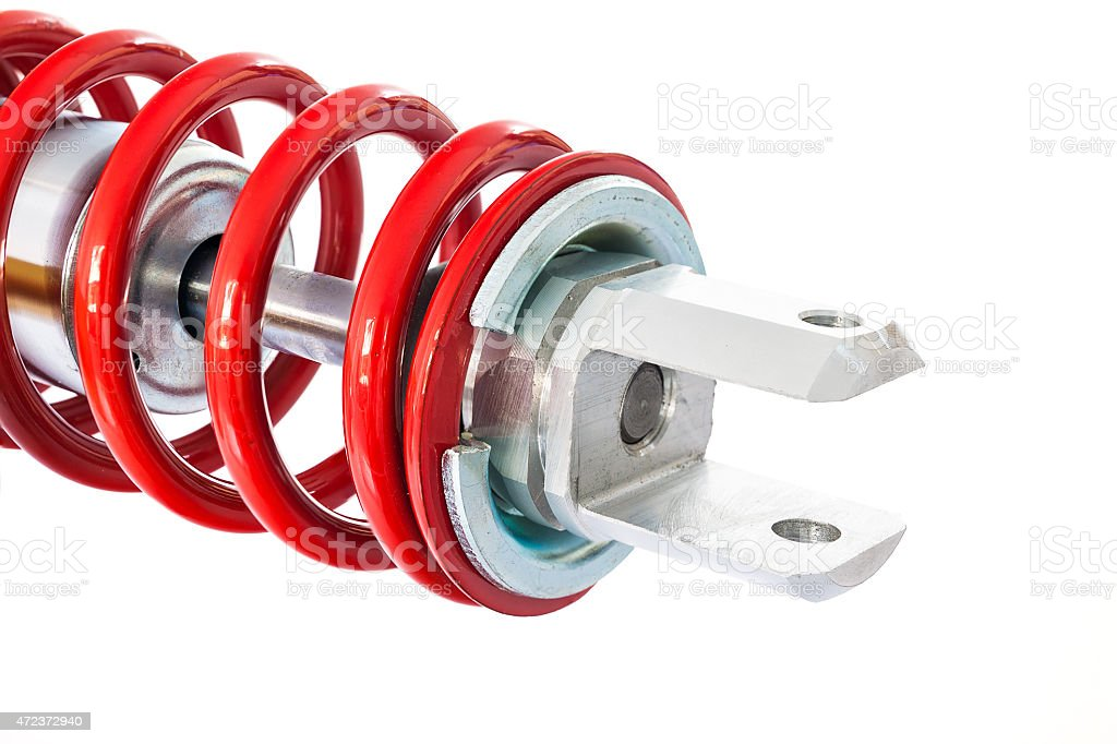 New red motorcycle suspension stock photo