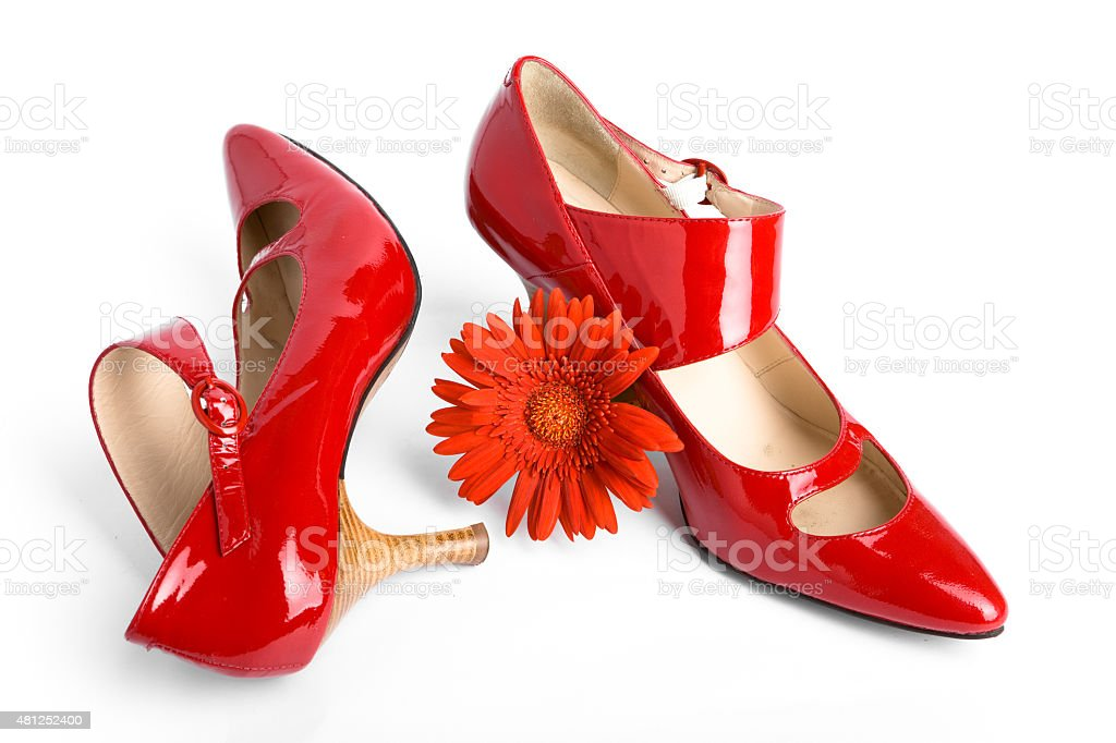 New red shoes and flower stock photo