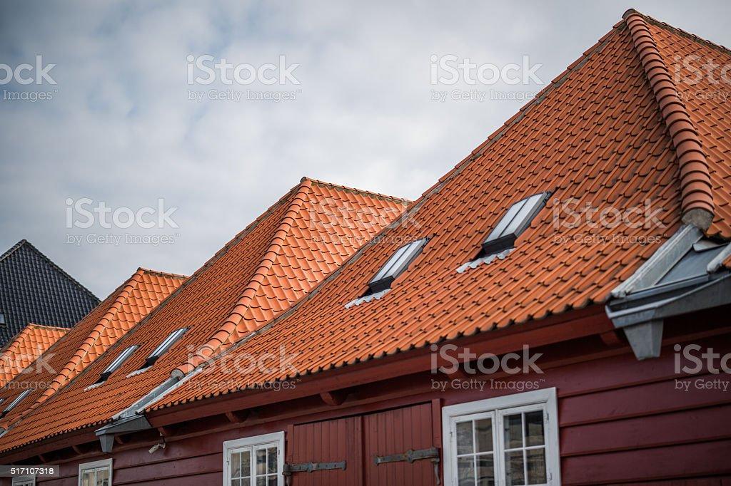 New red tile roofs on old buildings, Copenhagen, Denmark stock photo