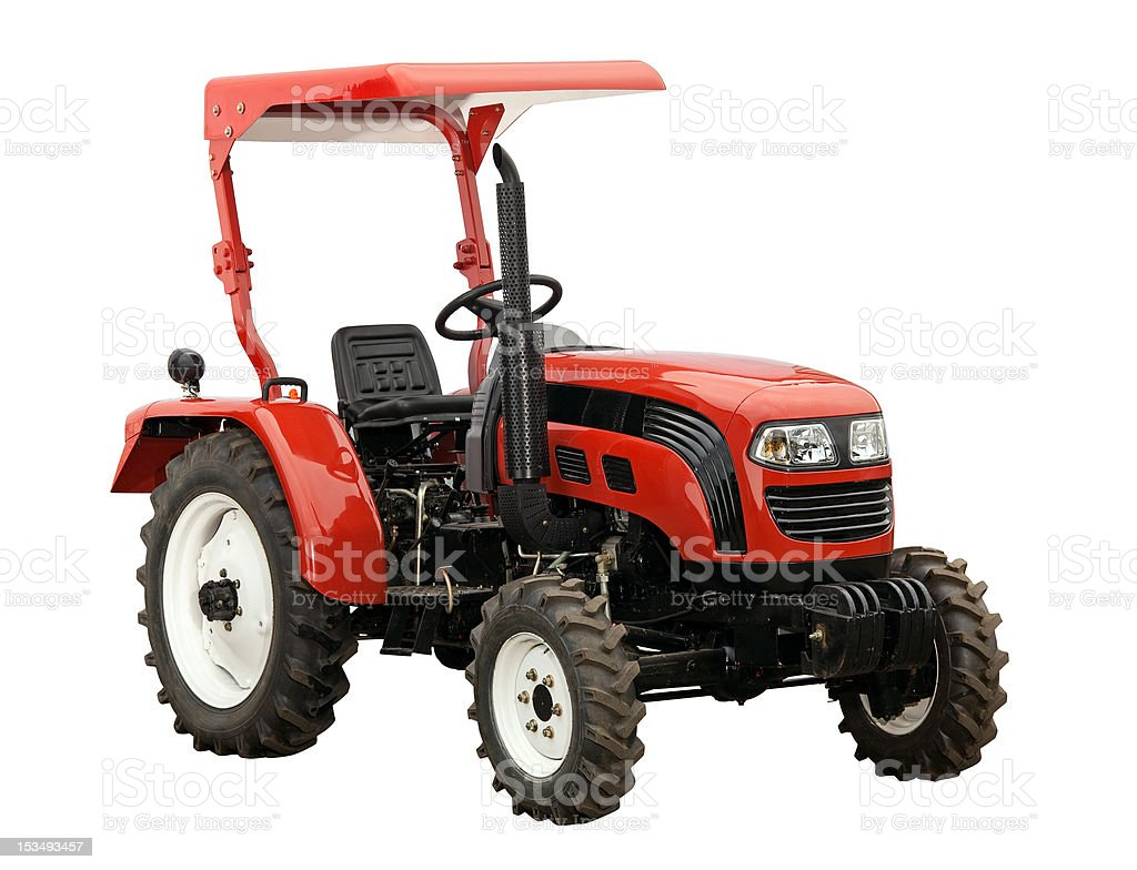 New red tractor isolated over white. With clipping path. royalty-free stock photo