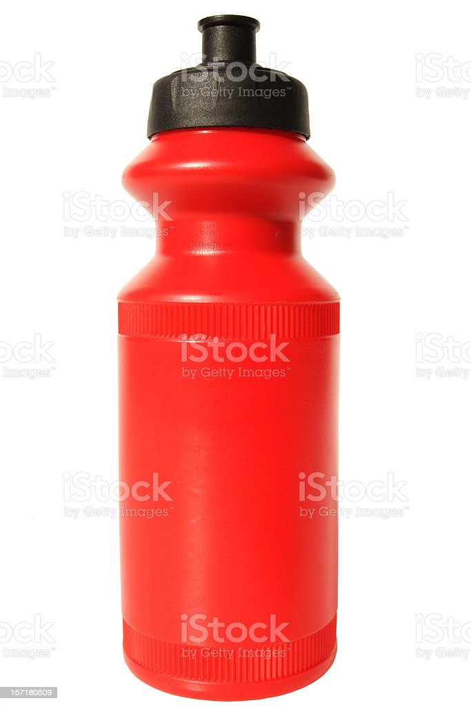new red water bottle stock photo