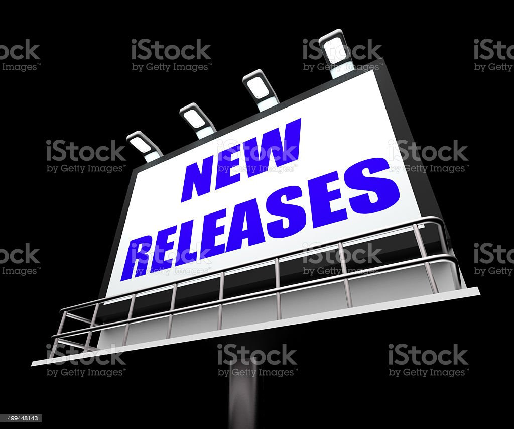 New Releases Sign Indicates Now Available or Current Product stock photo