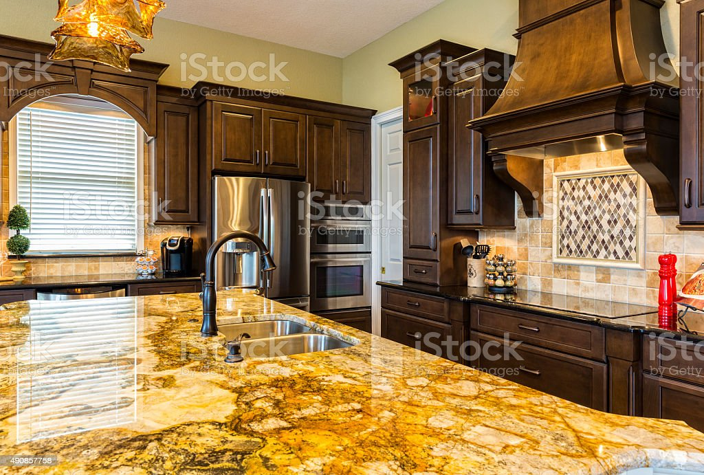 New Remodeled Modern Kitchen with Breakfast Bar stock photo
