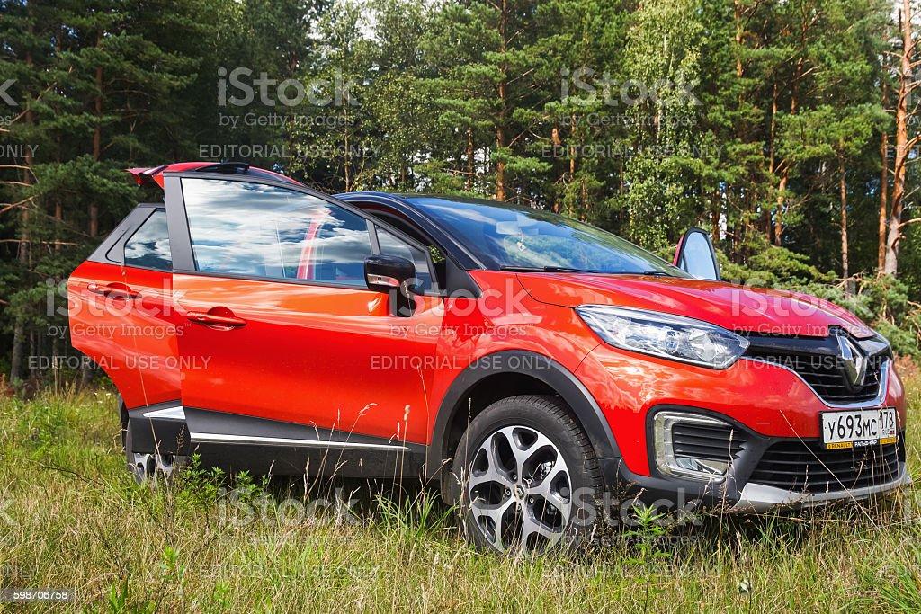 New Renault Kaptur with open doors stock photo