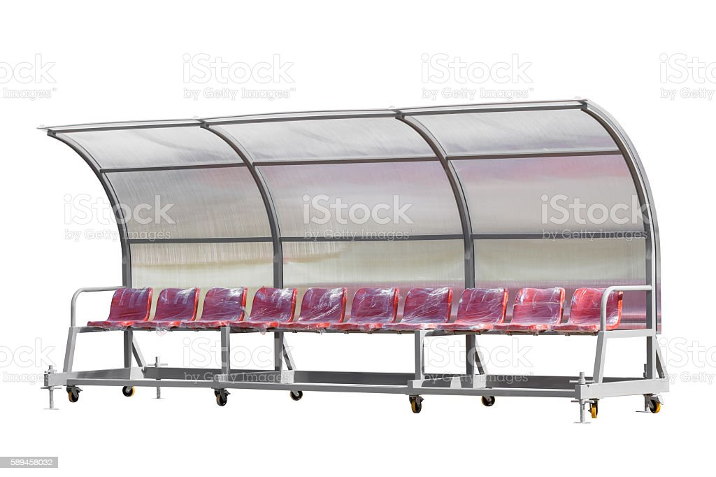 New Reserve and staff bench isolated on white, Clipping path stock photo