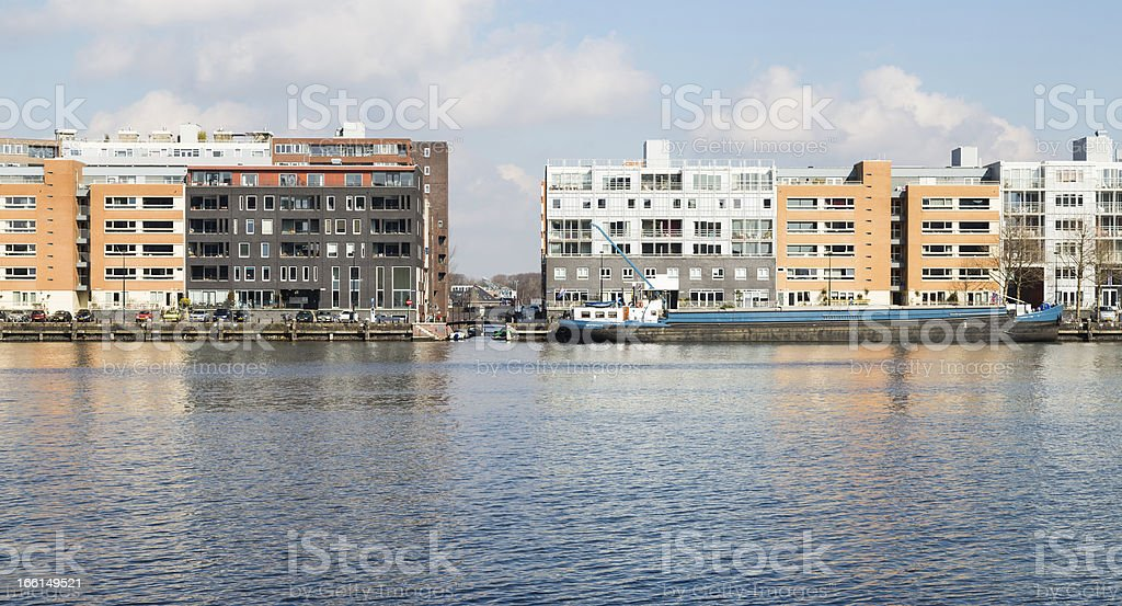 New residential area from Amsterdam along the harbor royalty-free stock photo