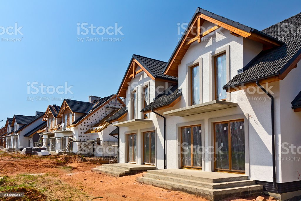 New residential area under construction stock photo