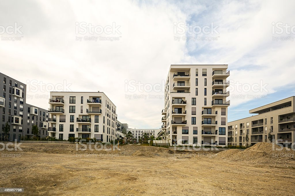 New residential buildings with outdoor facilities, Construction work near completion stock photo
