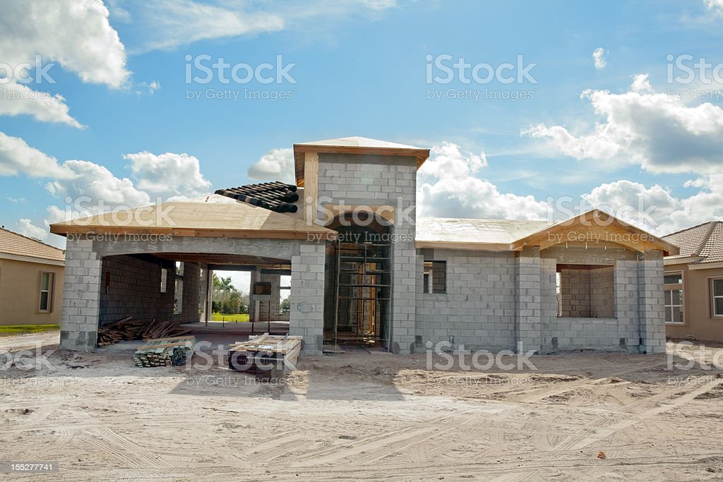 New residential construction front of house series royalty-free stock photo