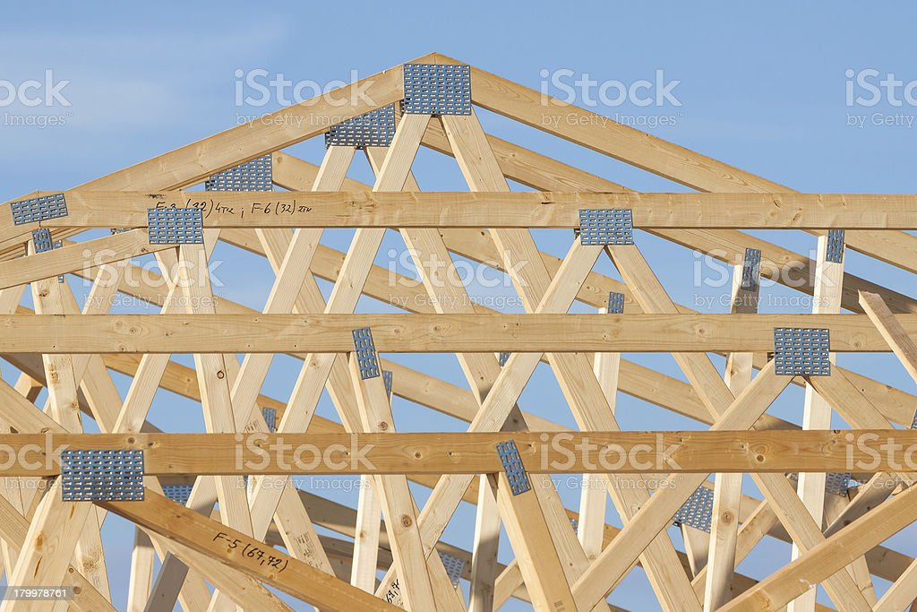New residential construction home framing royalty-free stock photo