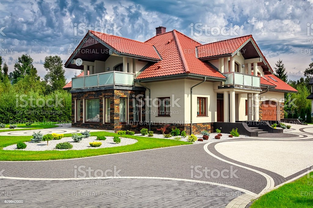 New Residential Home in the Suburb stock photo