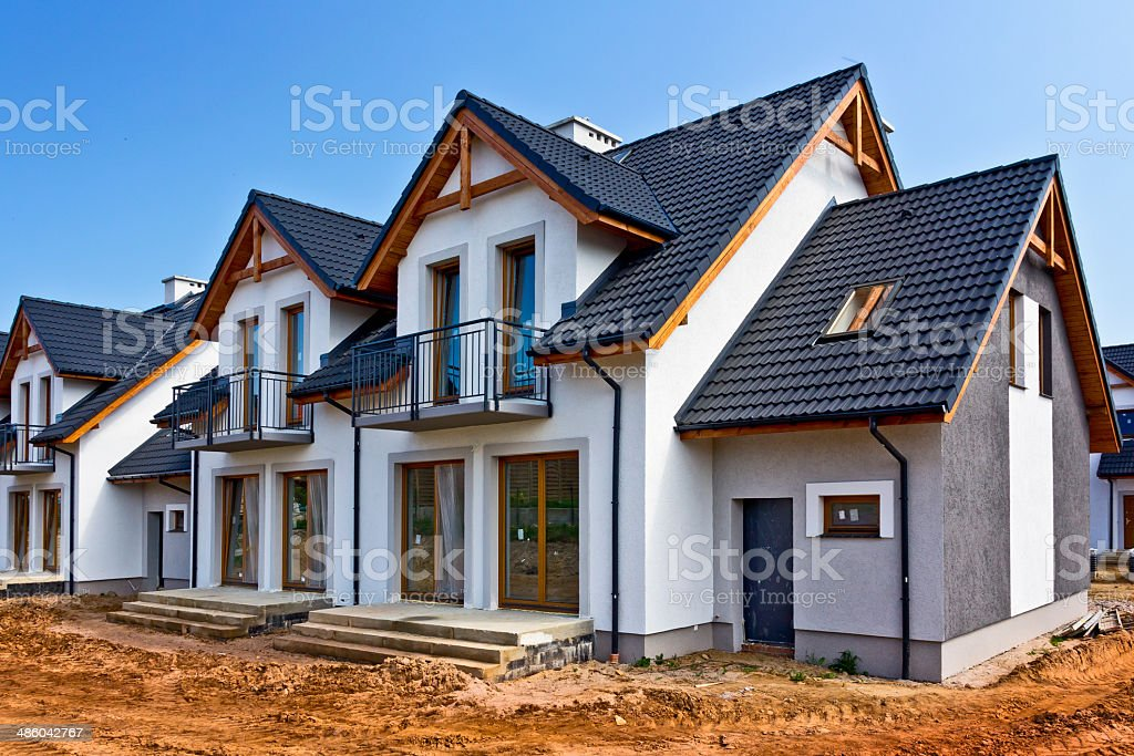 New Residential Homes under construction stock photo