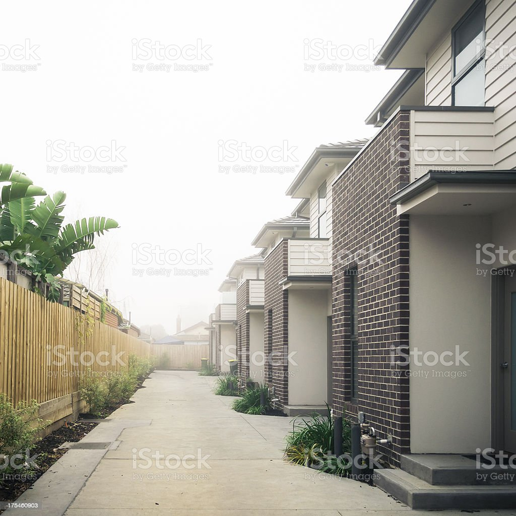 New Residential Units in Fog stock photo
