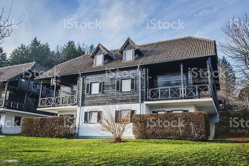 New Residential Wooden Houses in the Mountains royalty-free stock photo