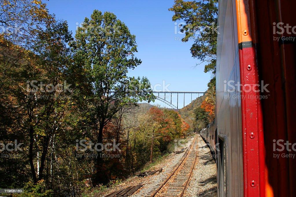 New River Bridge from the Train stock photo