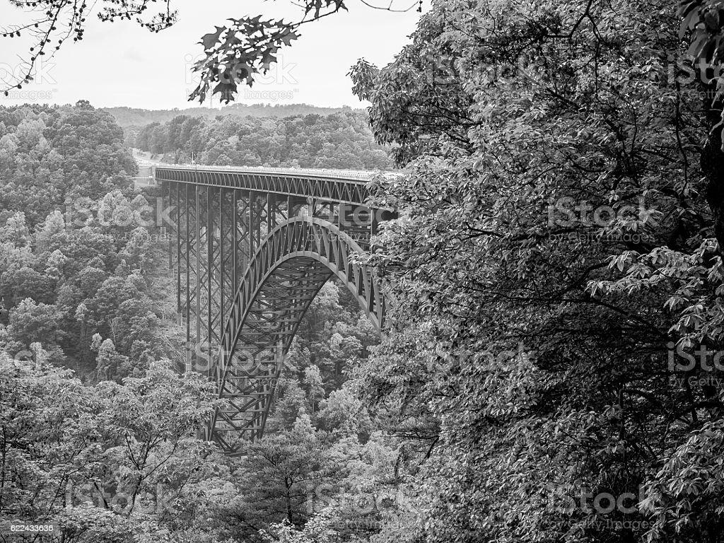B/W New River Gorge Bridge stock photo