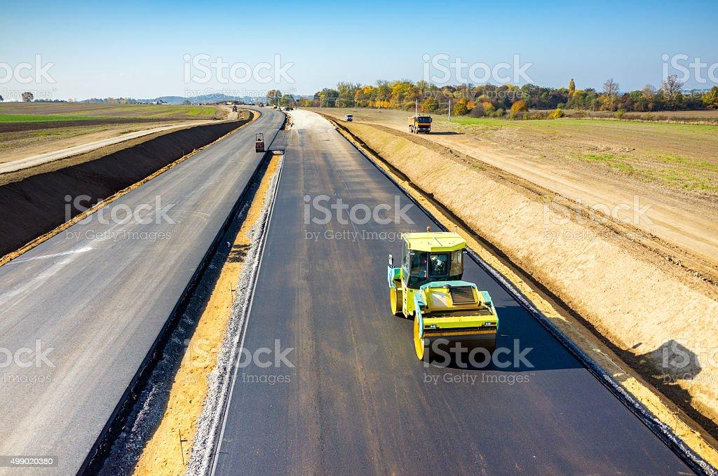 New road construction stock photo