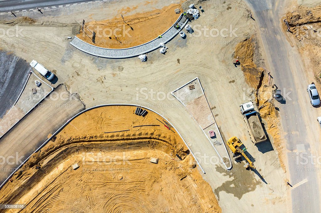 New road construction site aerial view stock photo
