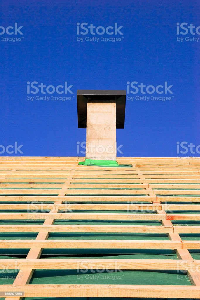 New Roof and Chimny stock photo