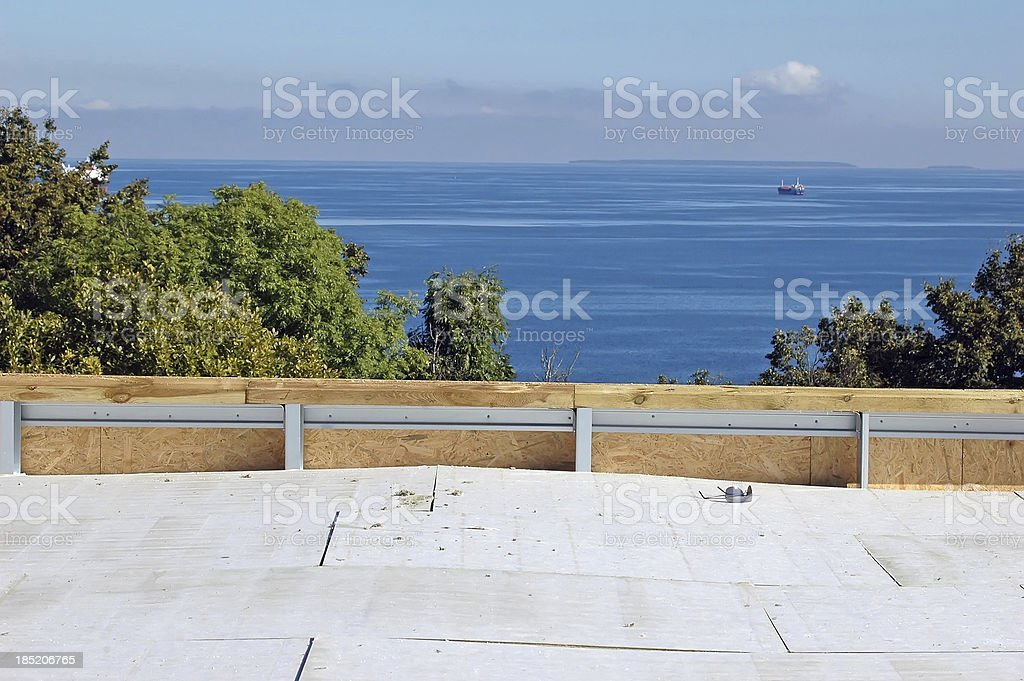 new roof construction at seaside royalty-free stock photo