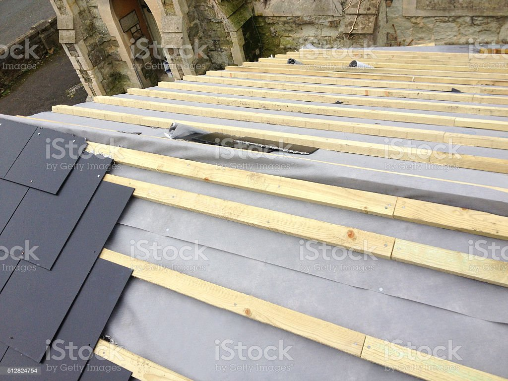 New Roof Replacement - Work In Progress stock photo