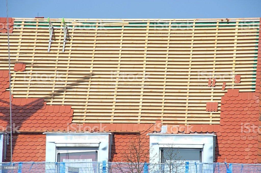 new roof-tiles - dachstuhl ausbauen royalty-free stock photo