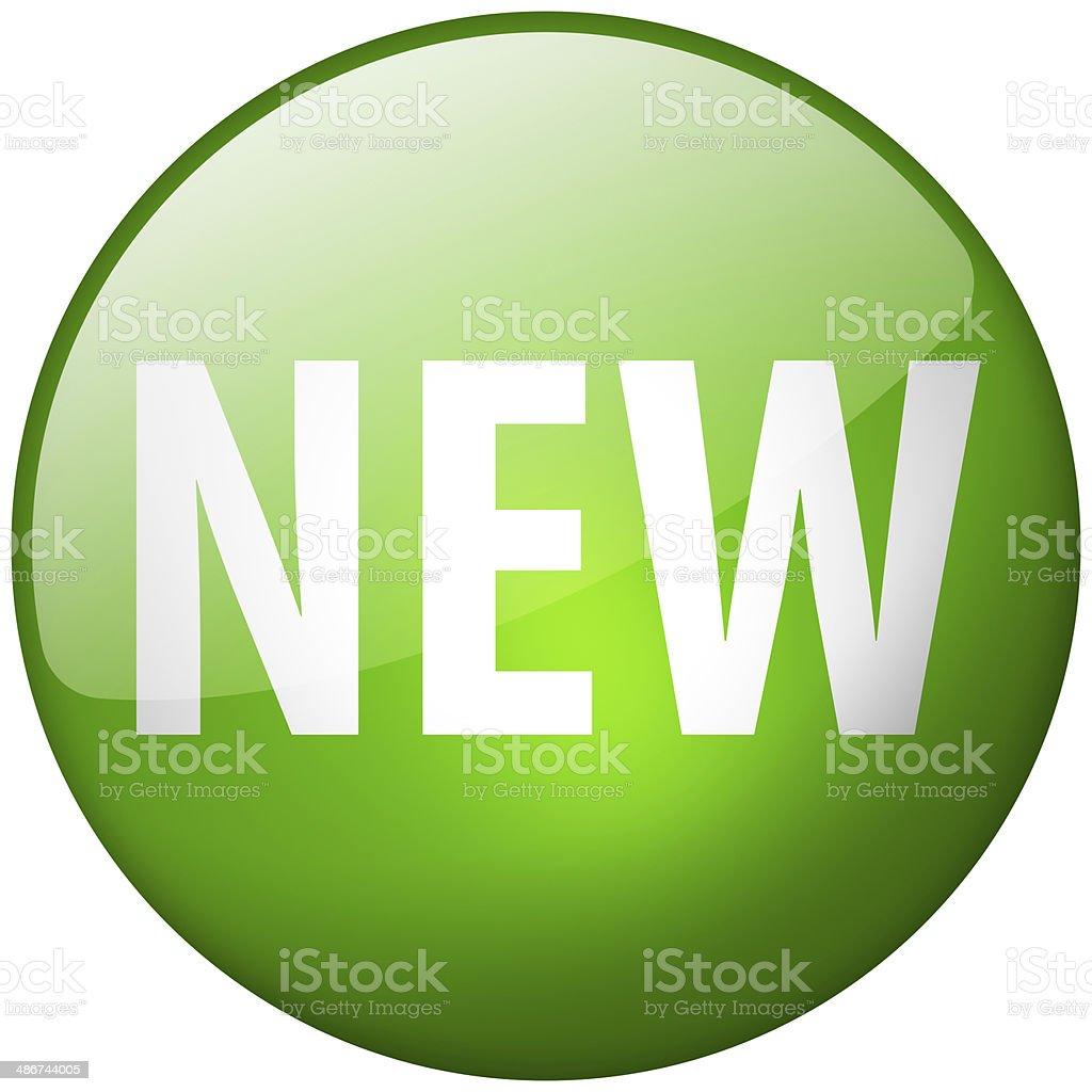 New Round Green Glass Shiny Button stock photo