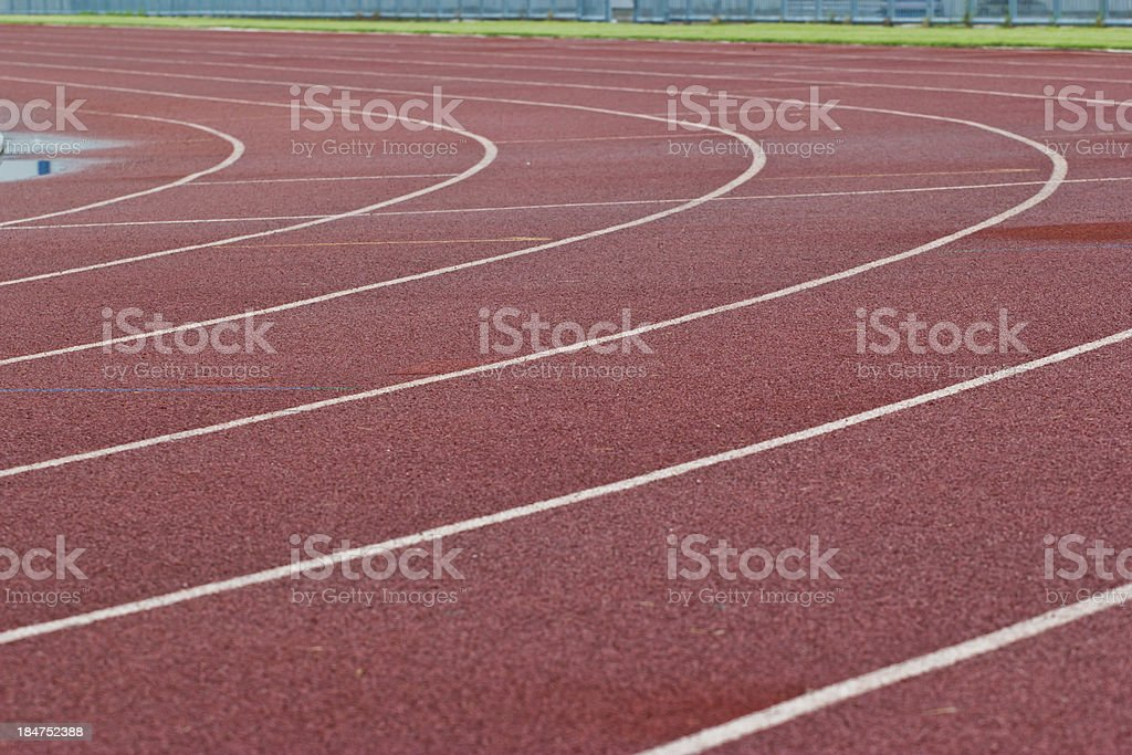 New running track and grandstand. stock photo