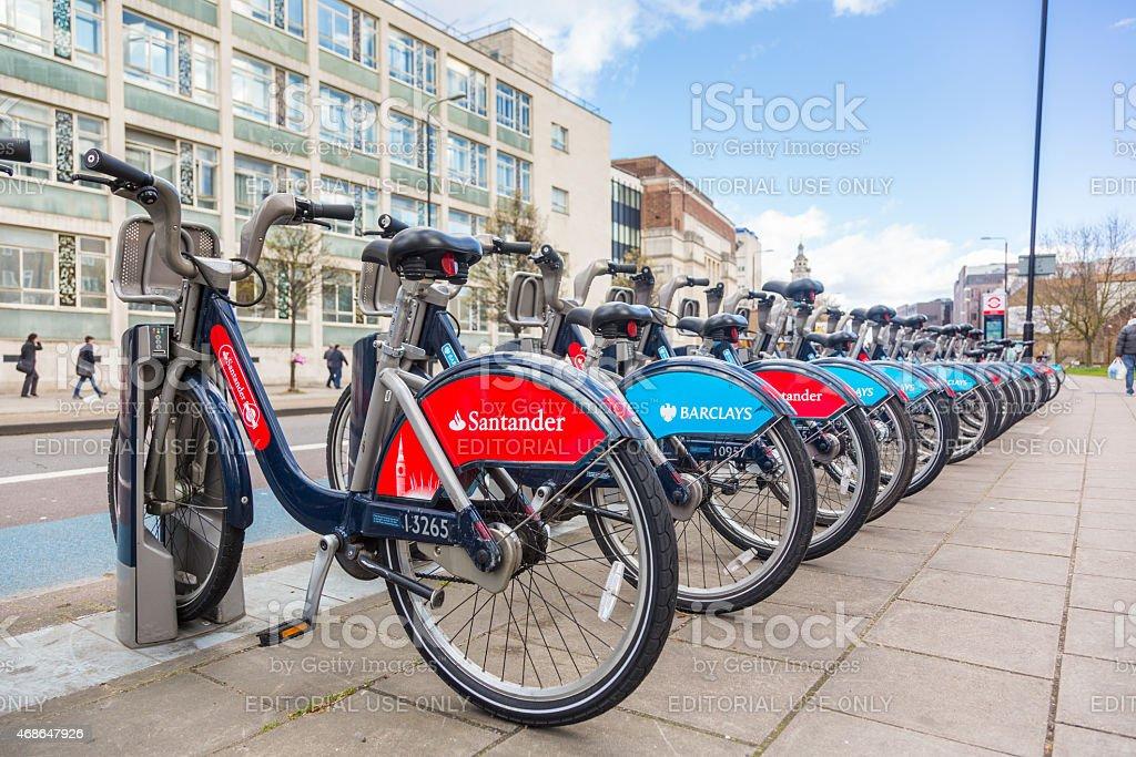 New Santander bikes in London stock photo